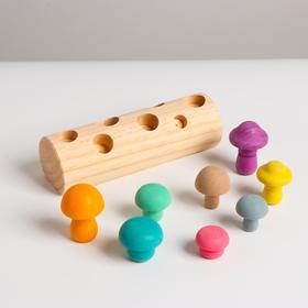 Развивающий набор «Грибы на пеньке» 18×6×5,3 см