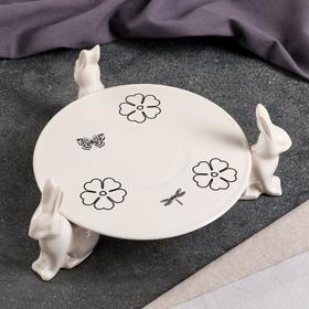 """Подставка для торта """"Шоколадные зайчики"""" 4 предмета, белая глазурь, лютики, монохром"""