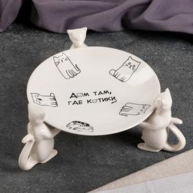 """Подставка для торта """"Котики"""", монохром, деколь"""