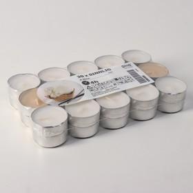 Набор чайных свечей СИНЛИГ, сладкая ваниль, 30 шт, 4 ч, белый