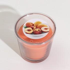 Ароматическая свеча в стакане СИНЛИГ, персик и апельсин, 7,5 см, 25 ч, оранжевый