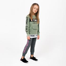 Леггинсы для девочки, цвет серый/принт микс, рост 116-128 см (5-7 лет)