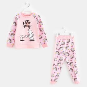 Комплект для девочки, цвет розовый, рост 98-104 см (34)
