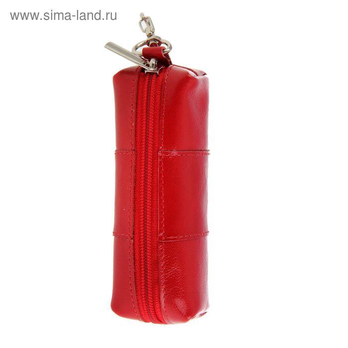Ключница на молнии, металлическое кольцо, карабин, красный глянцевый