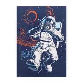 """Записная книжка А6, 64 листа """"Космический дизайн"""", твёрдая обложка, глянцевая ламинация, тиснение """"лён"""""""