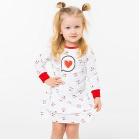 Платье для девочки LOVE, цвет белый/красный, рост 92
