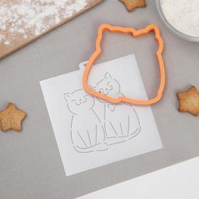 Форма для пряников с трафаретом «Влюблённые кошки», 10×10 см