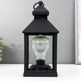 """Ночник """"Фонарь 3"""" LED от батареек 3хААА черный 10,5х10,5х21,5 см"""