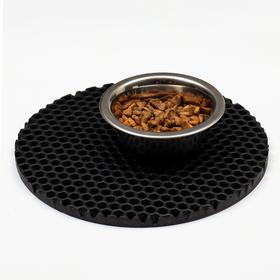 Коврик под миску, круглый, диаметр 24 см, черный