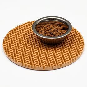 Коврик под миску, круглый, диаметр 24 см, бежевый