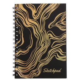 """Скетчпад А6, 30 листов на гребне """"Сияние"""", обложка мелованный картон, тиснение фольгой, чёрный блок 120 г/м2"""