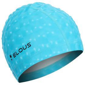 Шапочка для плавания Elous, с 3D эффектом, EL002, полиуретан, цвет голубой