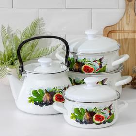 Набор посуды «Инжир», 4 предмета: 1,5 л, 2 л, 3 л, чайник 3 л