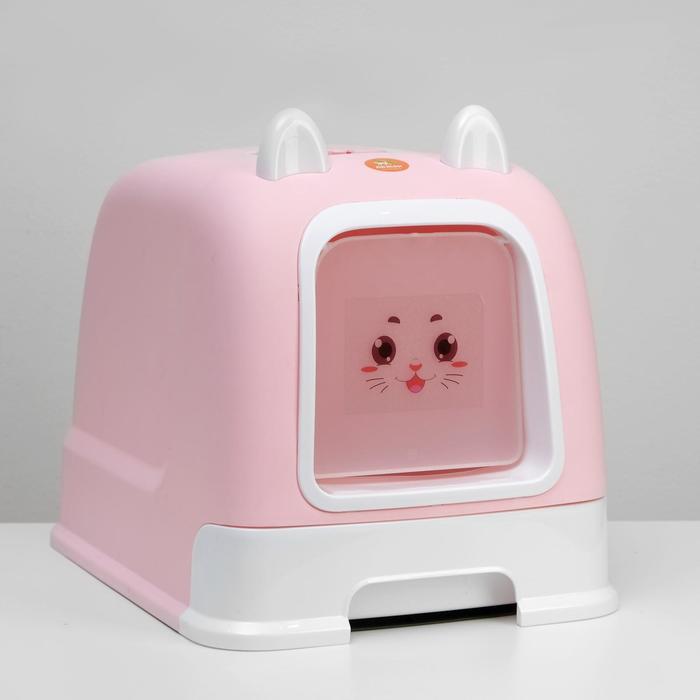 Туалет-домик с большим выдвижным поддоном, 53 х 41 х 40 см, розовый - фото 201034