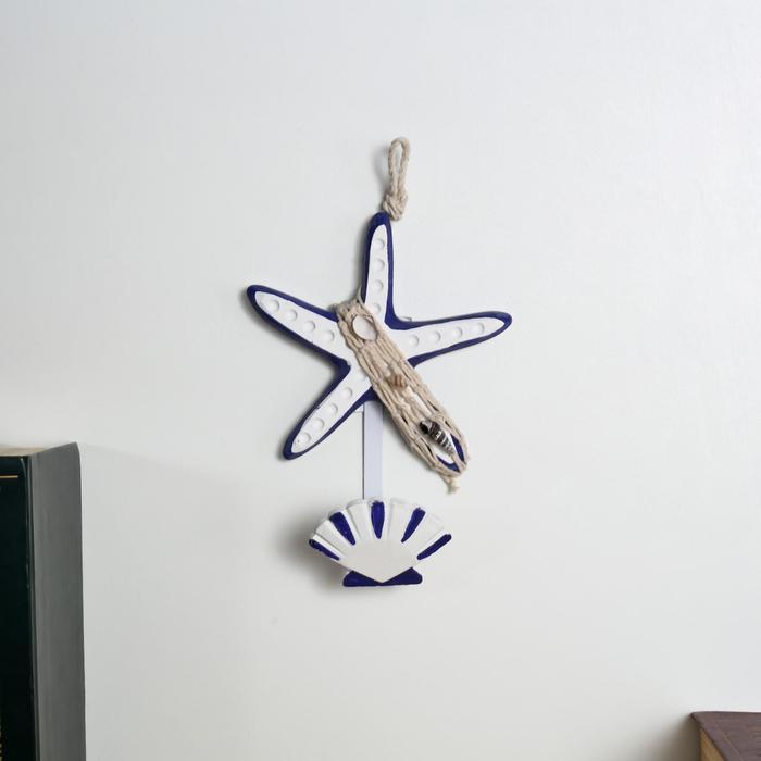 """Крючок декоративный дерево """"Морская звезда и ракушка"""" 20х14х6 см - фото 866346"""