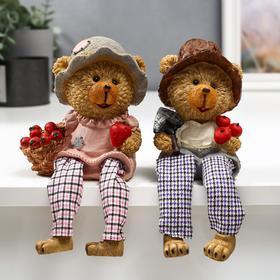 """Сувенир полистоун """"Медвежонок с яблоками"""" длинные ножки МИКС 23,5х10,5х8 см"""