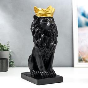 "Сувенир полистоун ""Чёрный лев в золотой короне"" 35,5х19х13,5 см"