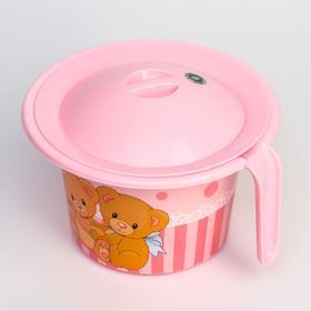 """Горшок детский """"Кроха"""" с крышкой и декором, цвет розовый"""