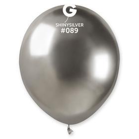 """Шар латексный 5"""", хром Shiny, водные бомбочки, серебро, набор 100 шт."""