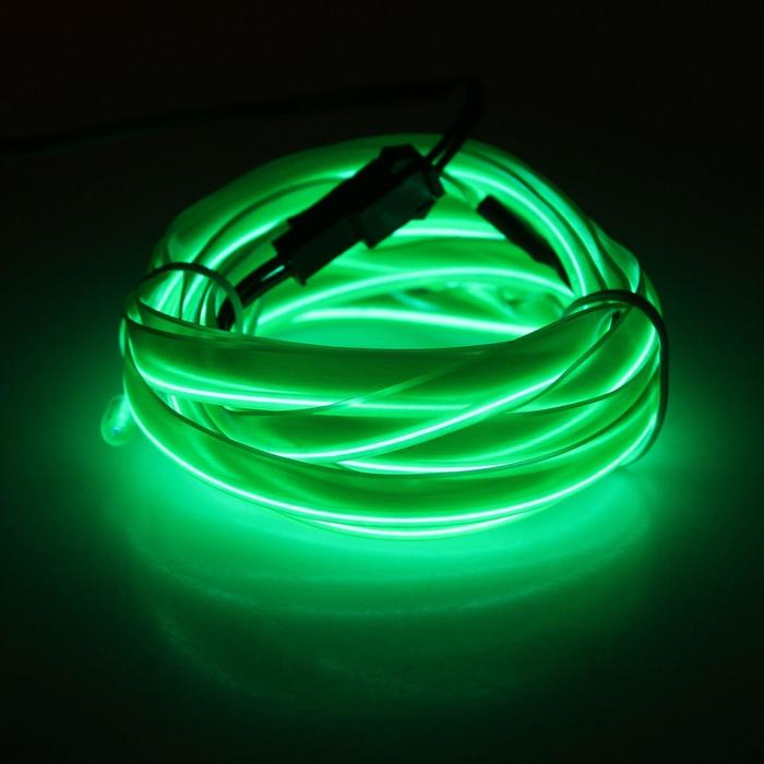 Неоновая нить для подсветки салона, плоская, 12 В, 2 м, с источником питания, зеленый