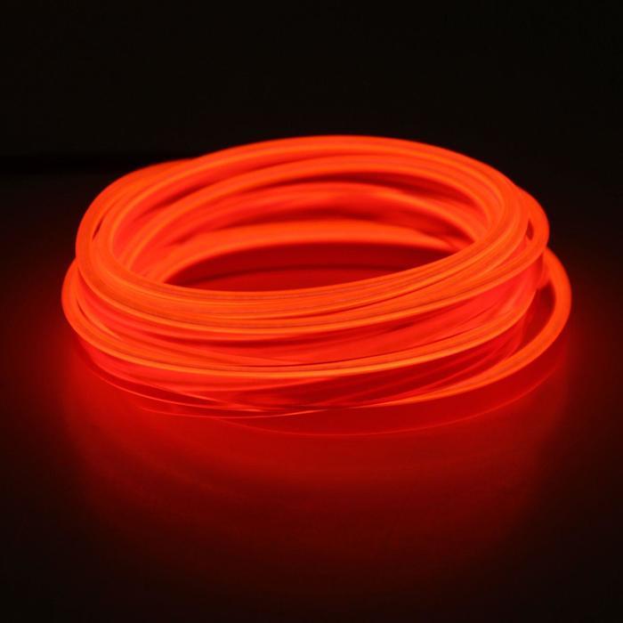 Неоновая нить для подсветки салона, плоская, 12 В, 2 м, с источником питания, красная