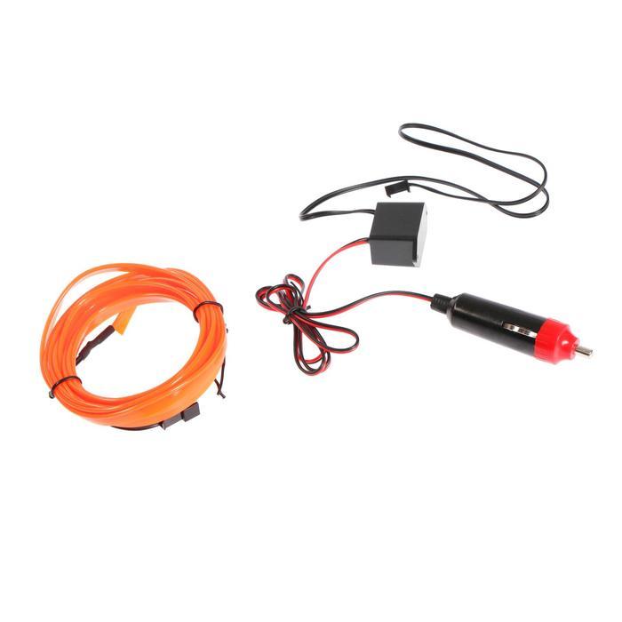 Неоновая нить для подсветки салона, плоская, 12 В, 2 м, с адаптером питания, красный