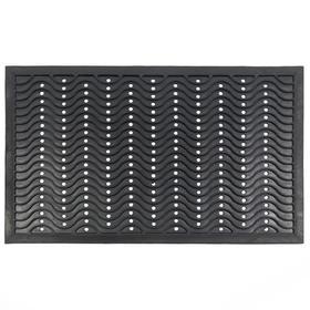 Коврик резиновый «Волна», 60х90 см, цвет чёрный
