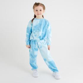 Костюм для девочки (свитшот, брюки) MINAKU: Tie-dye collection цвет голубой, рост 104 см