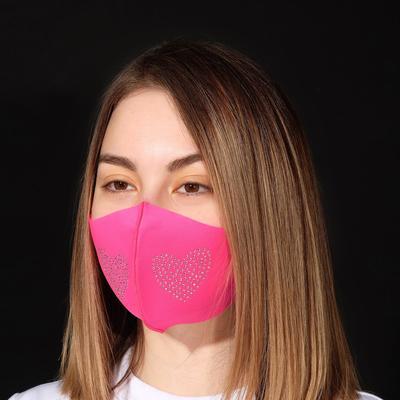 """Маска декоративная """"Сердечко"""" плотная, цвет белый в розовом"""