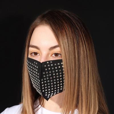 """Маска декоративная """"Дорожки"""" квадраты, цвет белый в чёрном"""