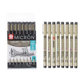Ручка капиллярная набор Sakura Pigma Micron Manga, разные типы, 8 штук, чёрный