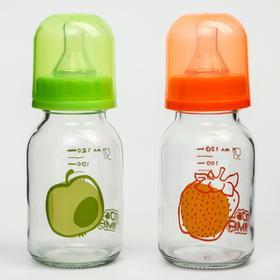 Бутылочка стеклянная 120 мл. 1 шт. (Термостекло, силикон , медленный поток) 0+