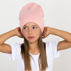 Шапка для девочки, цвет пудра, размер 52-54