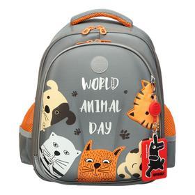 Рюкзак каркасный, Grizzly RAz-086, 36 х 28 х 20 см, «Коты»
