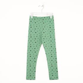 Леггинсы для девочки, цвет зелёный/сердечки, рост 128 см