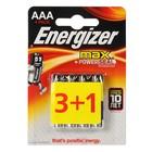 Батарейка алкалиновая Energizer Max +PowerSeal, AAA, LR03-4BL, 1.5В, блистер, 3+1 шт.