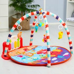 Развивающий коврик «Игра малыша», с пианино, круглый, розовый