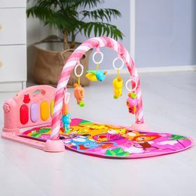 Развивающий коврик «Малыши», с пианино, розовый