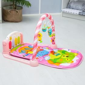 Развивающий коврик «Мишка», с пианино, розовый
