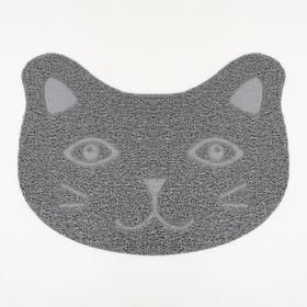 "Коврик для туалета животных ""Киса"", 40 х 30 см, серый"