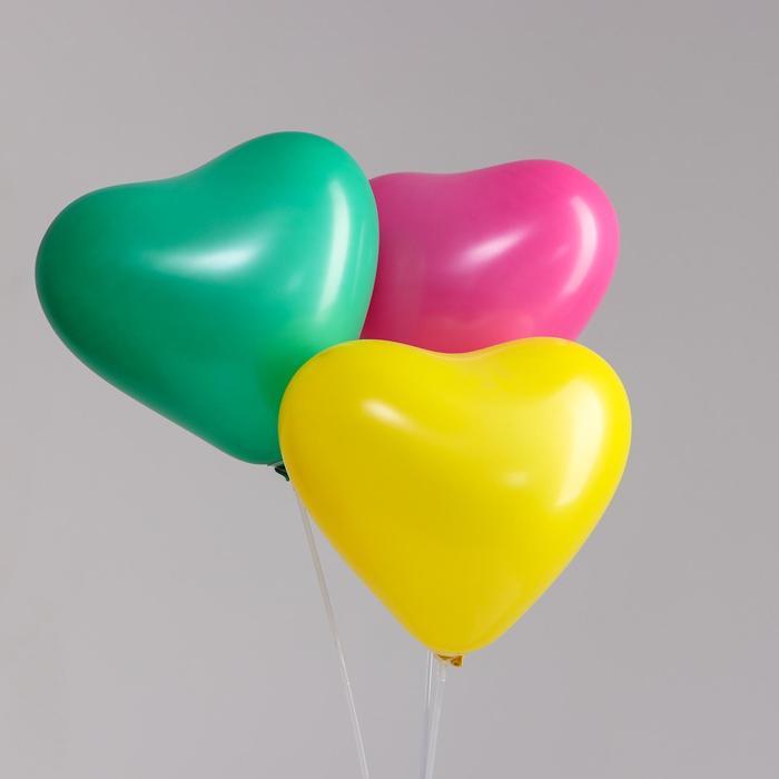 """Шар латексный сердце 12"""", стандарт, набор 100 шт, цвет МИКС - фото 2627613"""