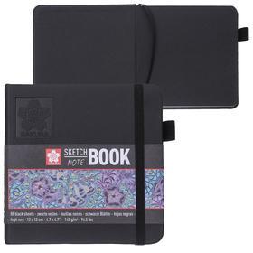 Блокнот для рисунков квадратный 120 х 120, 140 г/м² , Sakura 80 листов, чёрный блок, твёрдая обложка, чёрная