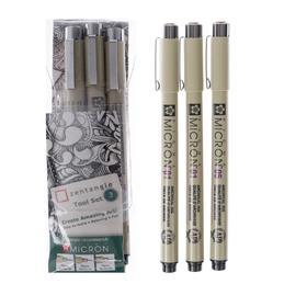 Набор ручек капиллярных 3 штуки (линеры 0.25, 0.25, 0.45), Sakura Pigma Micron + брошюра Zentangle, цвет чёрный (пигментные светостойкие чернила)