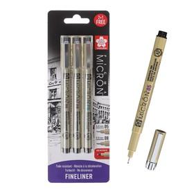 Набор ручек капиллярных 3 штуки (линеры 0.45, 0.5; PN), Sakura Pigma Micron, цвет чёрный (пигментные светостойкие чернила)