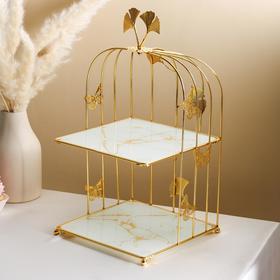 {{photo.Alt || photo.Description || 'Подставка под десерты 2-х ярусная «Мрамор», 21×21×43 см, цвет белый'}}