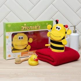 "Набор для купания ""Пчелка"" полотенце 70*130 см с мочалкой"