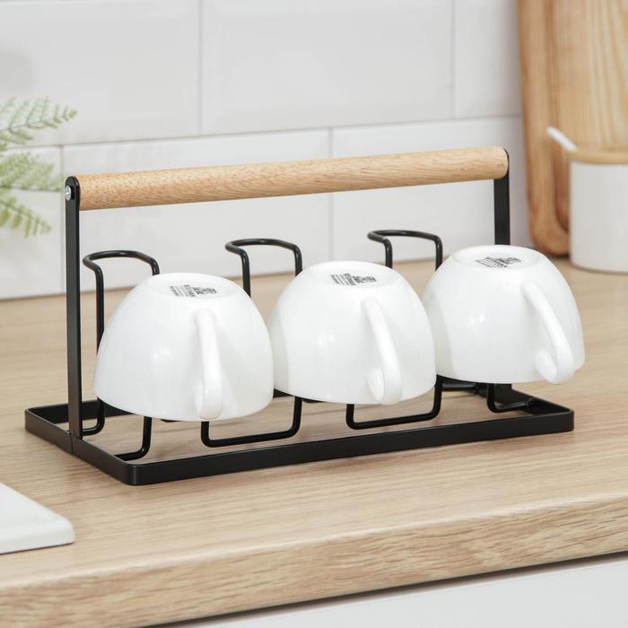Подставка для кружек и стаканов Доляна «Лукреция», цвет чёрный - фото 726931