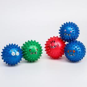 Набор развивающих массажных мячиков, «Веселые мордочки», средней мягкости, d= 7 см, цвет МИКС, 5 шт.