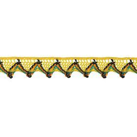 Тесьма «Уголки», 2 см, намотка 25 м, цвет жёлтый