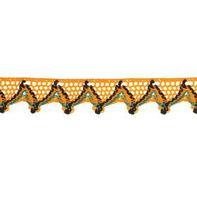 Тесьма «Уголки», 2 см, намотка 25 м, цвет оранжевый